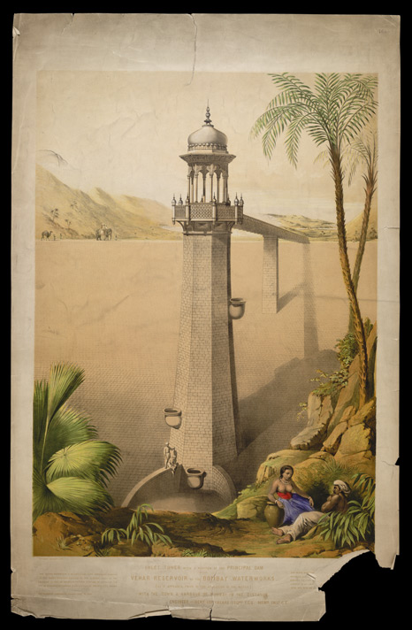 Inlet tower with a portion of the principal dam of the Vehar Reservoir of the Bombay Waterworks